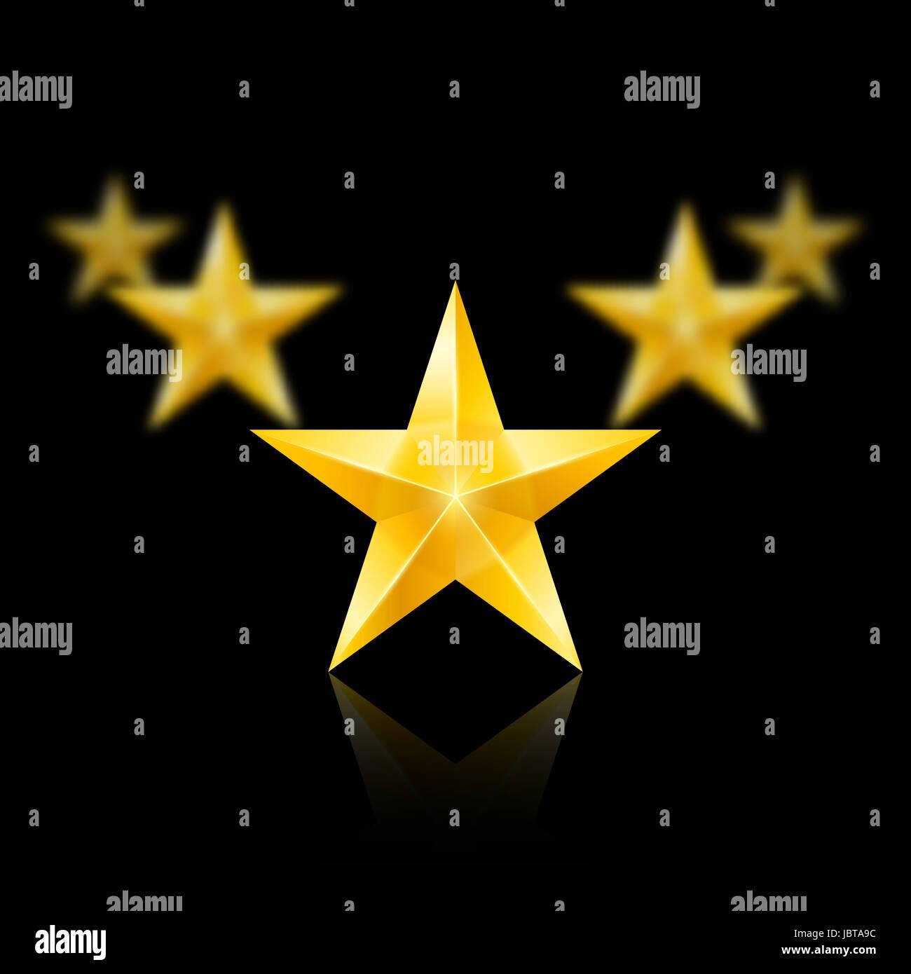 Cinq étoiles Dor Sur Fond Noir Le Premier Dans Laccent