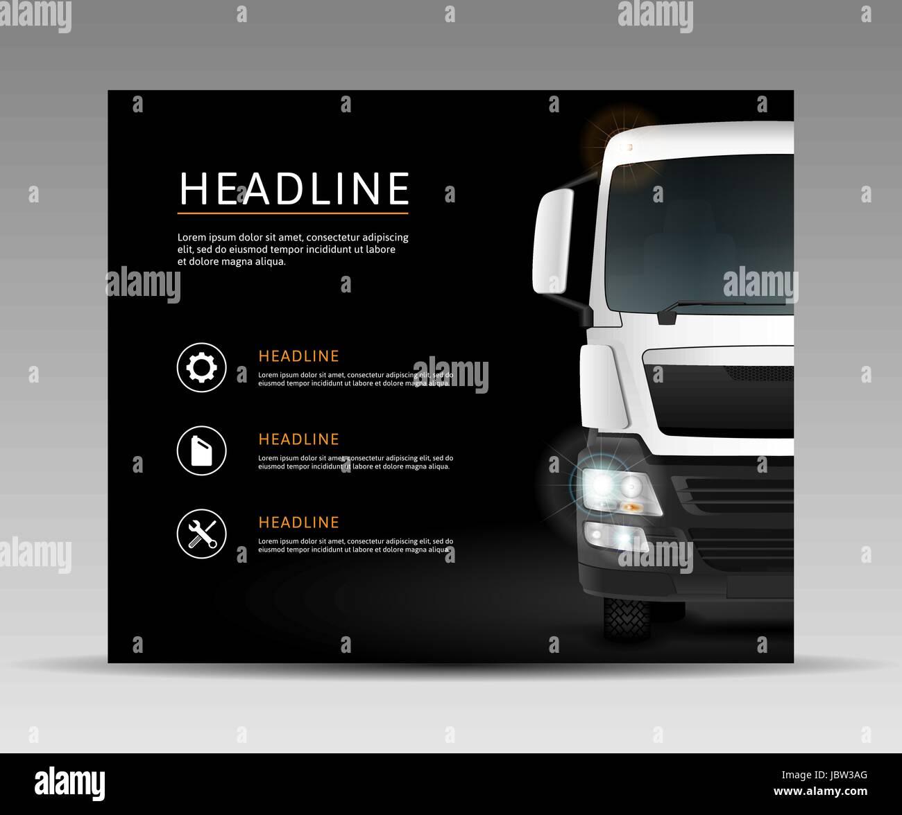 Camion Blanc Sur Fond Noir Modle De Service Voiture Brochure Couverture Bannire Flyer Carte Visite Design Publicitaire