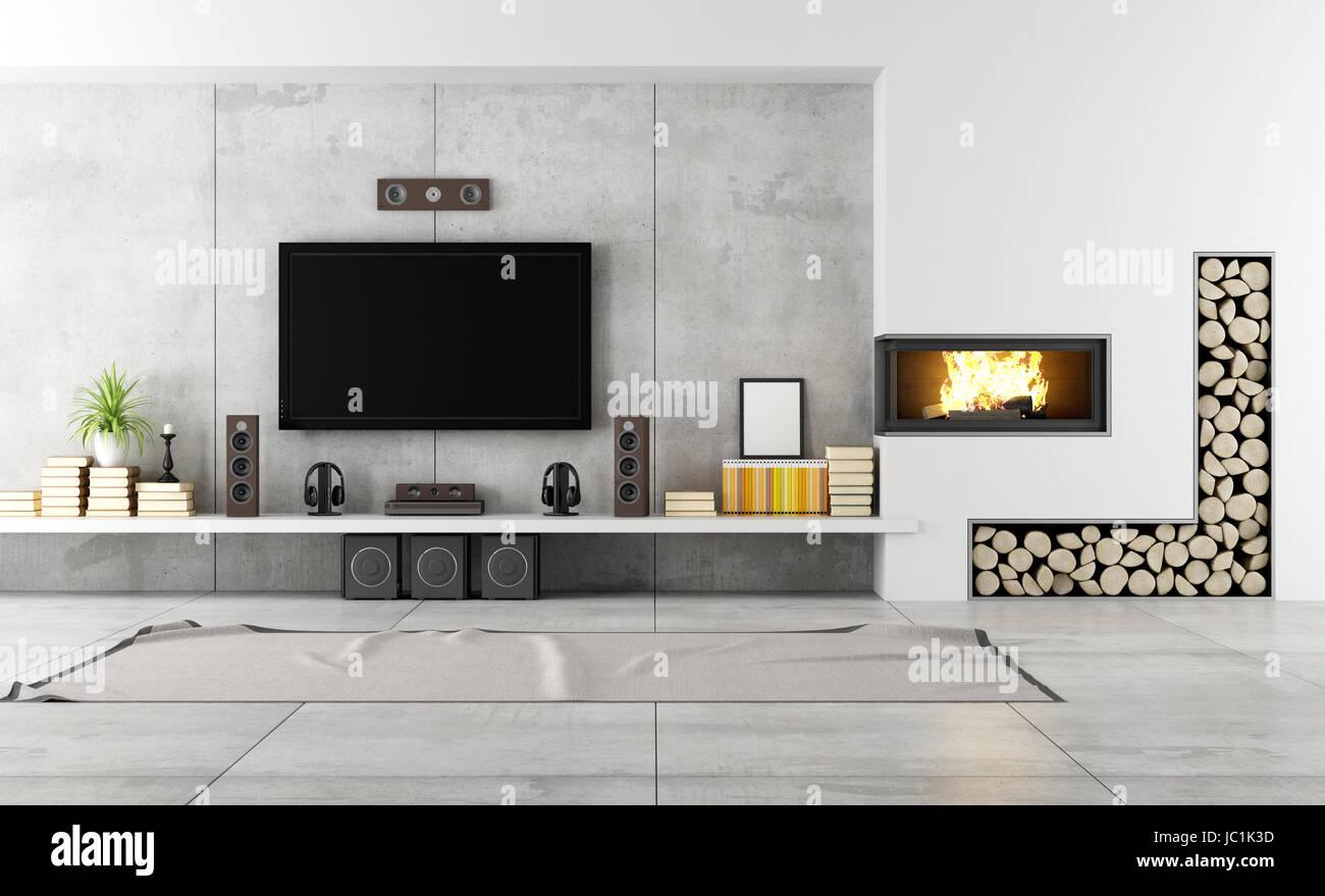 Salon moderne avec TV et cheminée - rendering Banque D ...