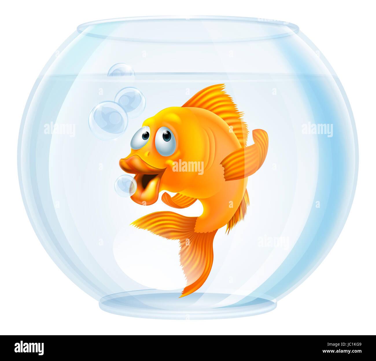 Une illustration d 39 un cute cartoon poissons rouges dans un for Poisson bocal