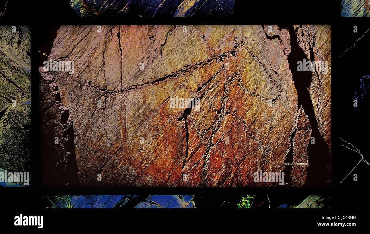 Panneau numérique à l'intérieur du Musée de l'aco montrant la gravure du paléolithique Photo Stock