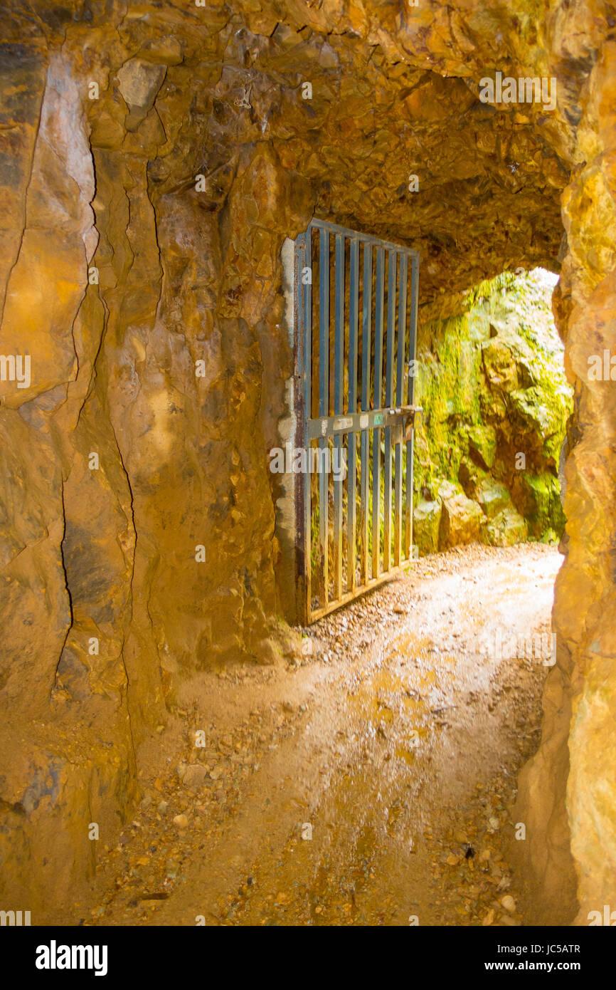 Entrez de tunnel ferroviaire historique, une partie d'une ancienne mine d'or du système de transport Photo Stock