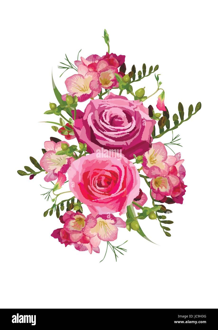 Fleur Rose Rose Freesia Hypericum Pois Herbes Feuilles Belle Belle