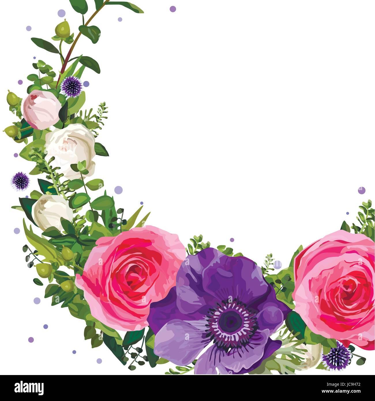 couronne de fleurs rose an mone rose feuilles de chardon beau joli bouquet printemps t vector. Black Bedroom Furniture Sets. Home Design Ideas