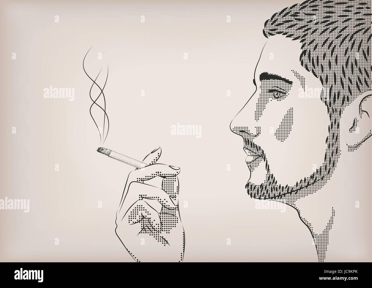 da46e0389ca196 Les hommes personne mâle fumée fumer le tabac à cigarette modèle main face  profil. Belle horizontale vecteur mauvaise habitude salon sign pancarte  close-up ...
