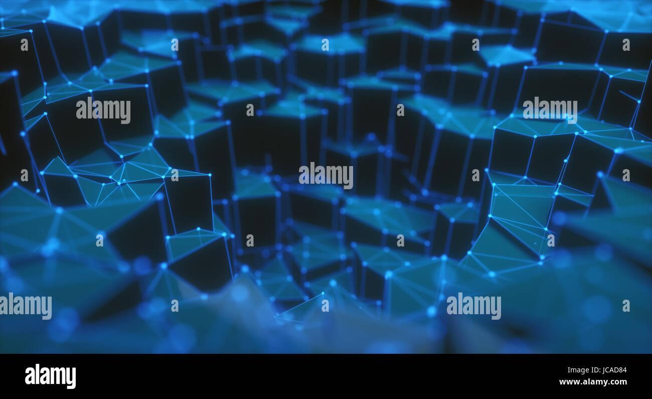 3D illustration, résumé de fond. Les connexions avec des mailles et de points que peut représenter Photo Stock