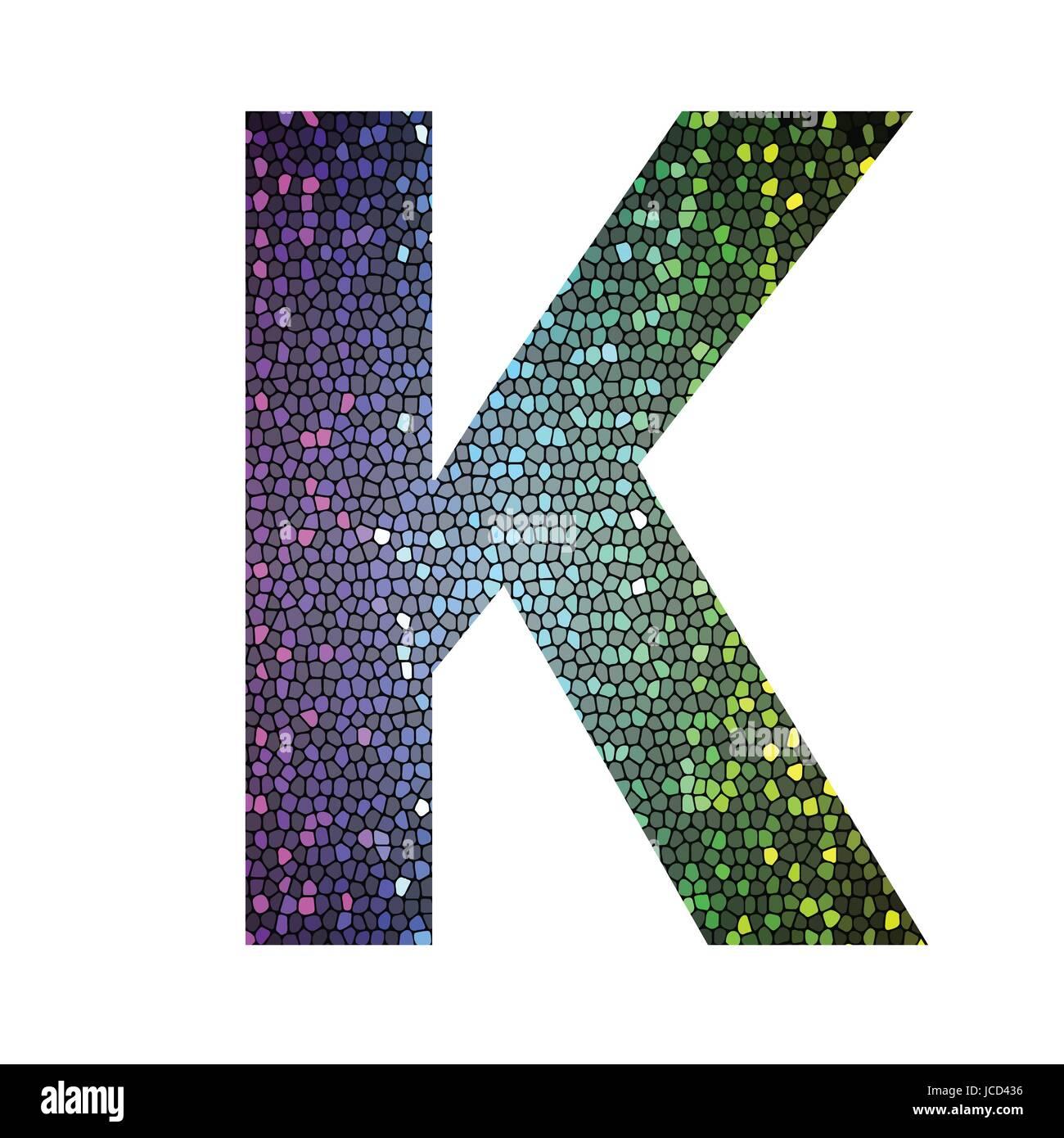 Illustration en couleur avec la lettre K de différentes couleurs
