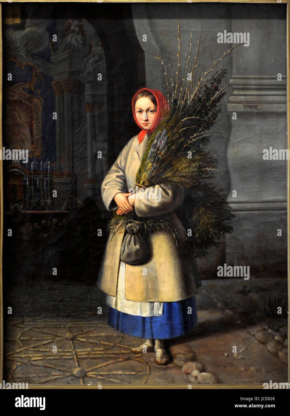Kanuty Rusiecki (1800-1860). Peintre lituanien d'origine polonaise. Fille lituanienne avec le Dimanche des frondes. Photo Stock