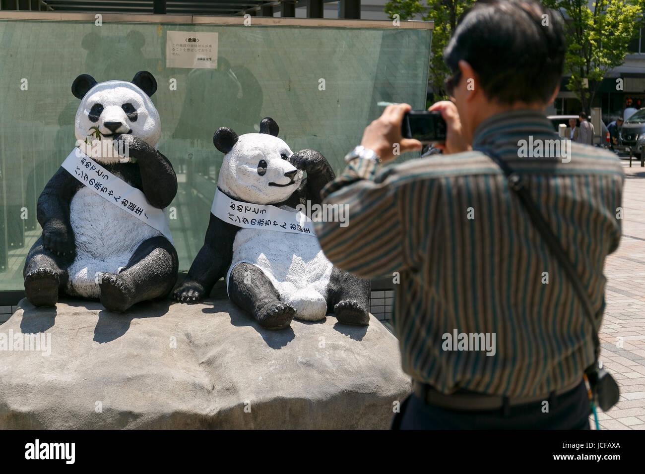 Un Homme Prend Une Photo Des Statues De Pandas Géants Du Zoo De Ueno