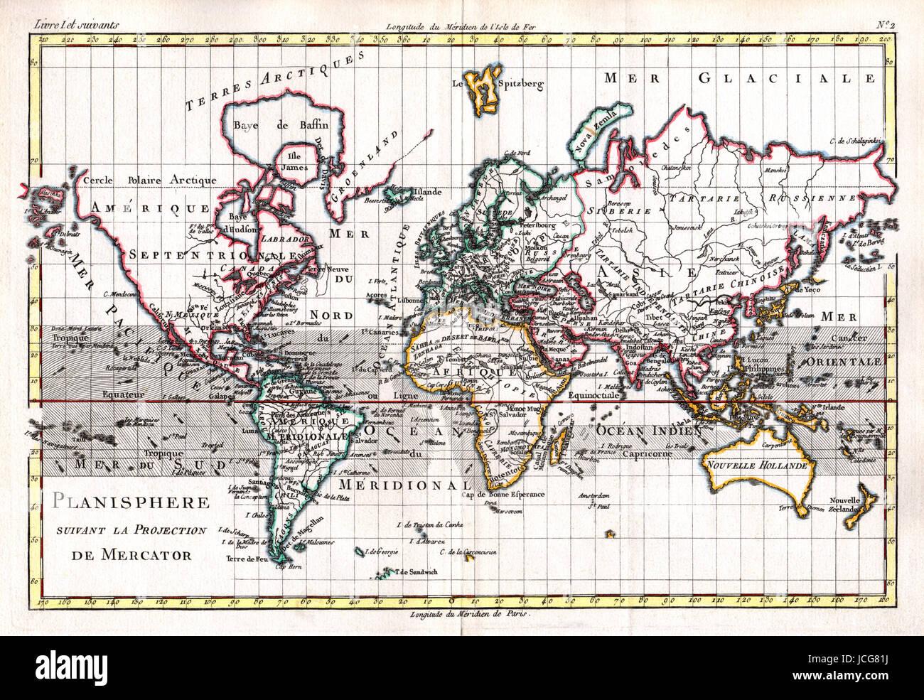 1779 bonne carte du monde sur la projection de Mercator, un exemple de cartographie française, coloriés Photo Stock