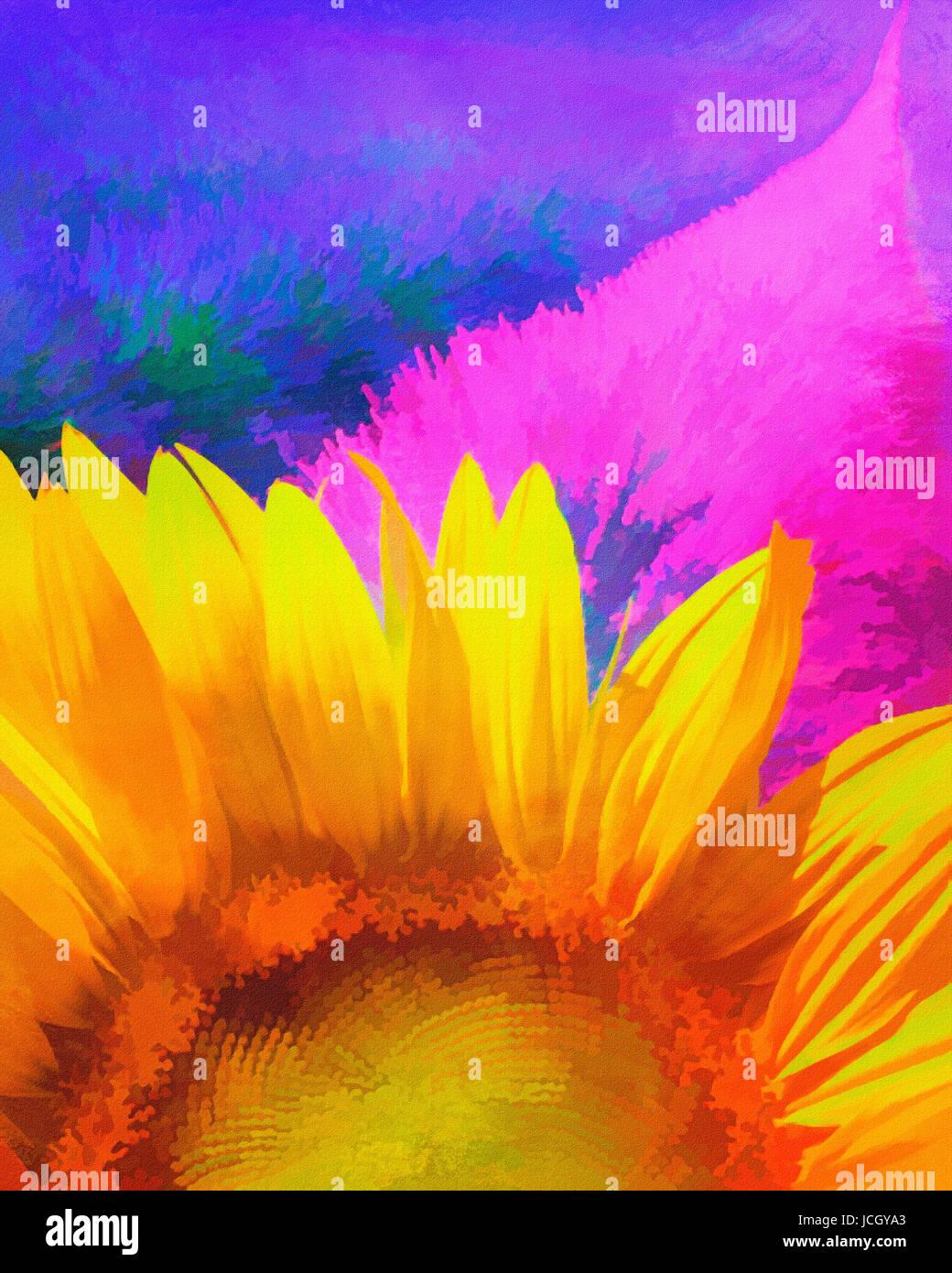 Peinture numérique: Lavande et tournesol Photo Stock