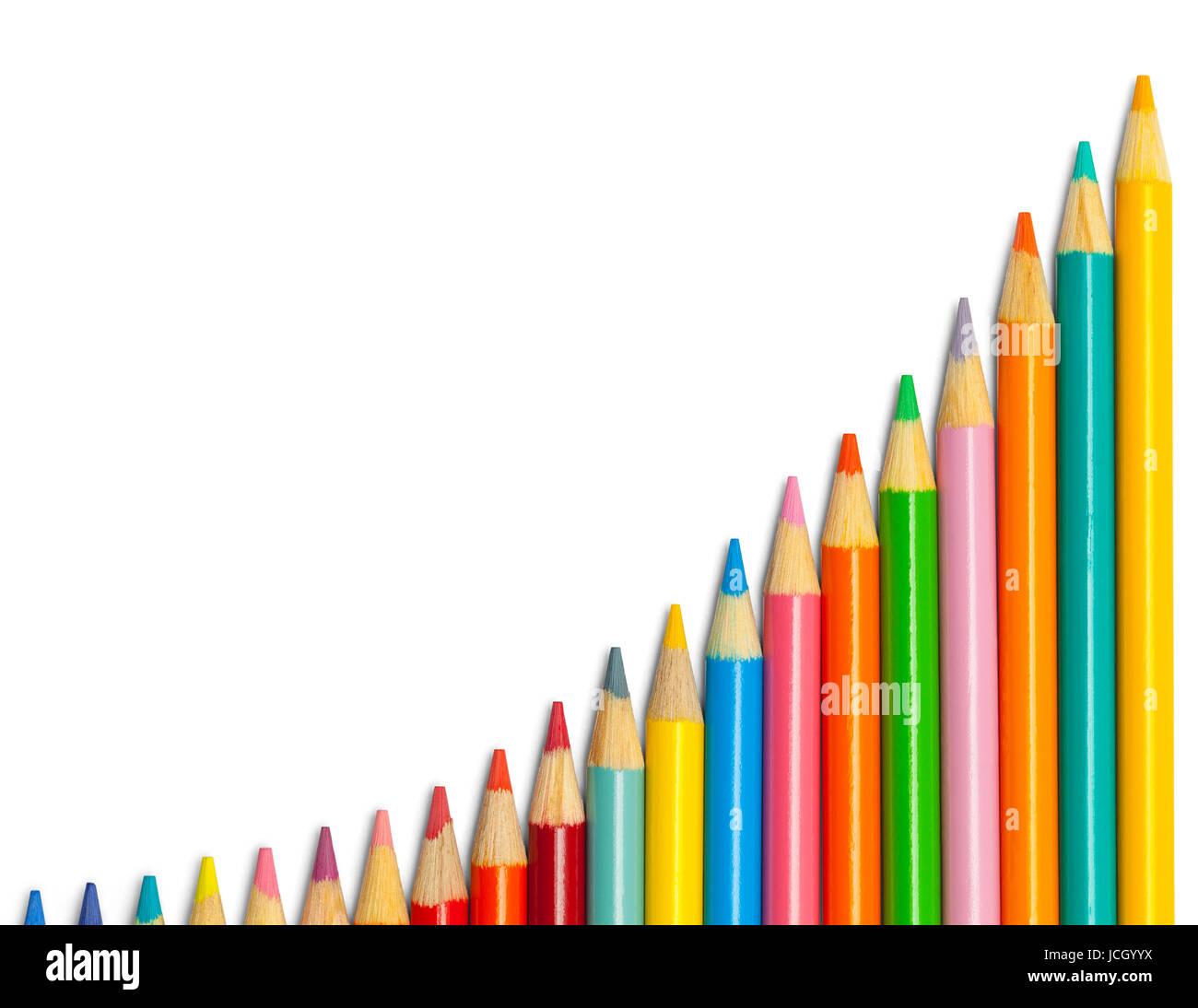 Crayon de couleur Curve isolé sur fond blanc. Photo Stock