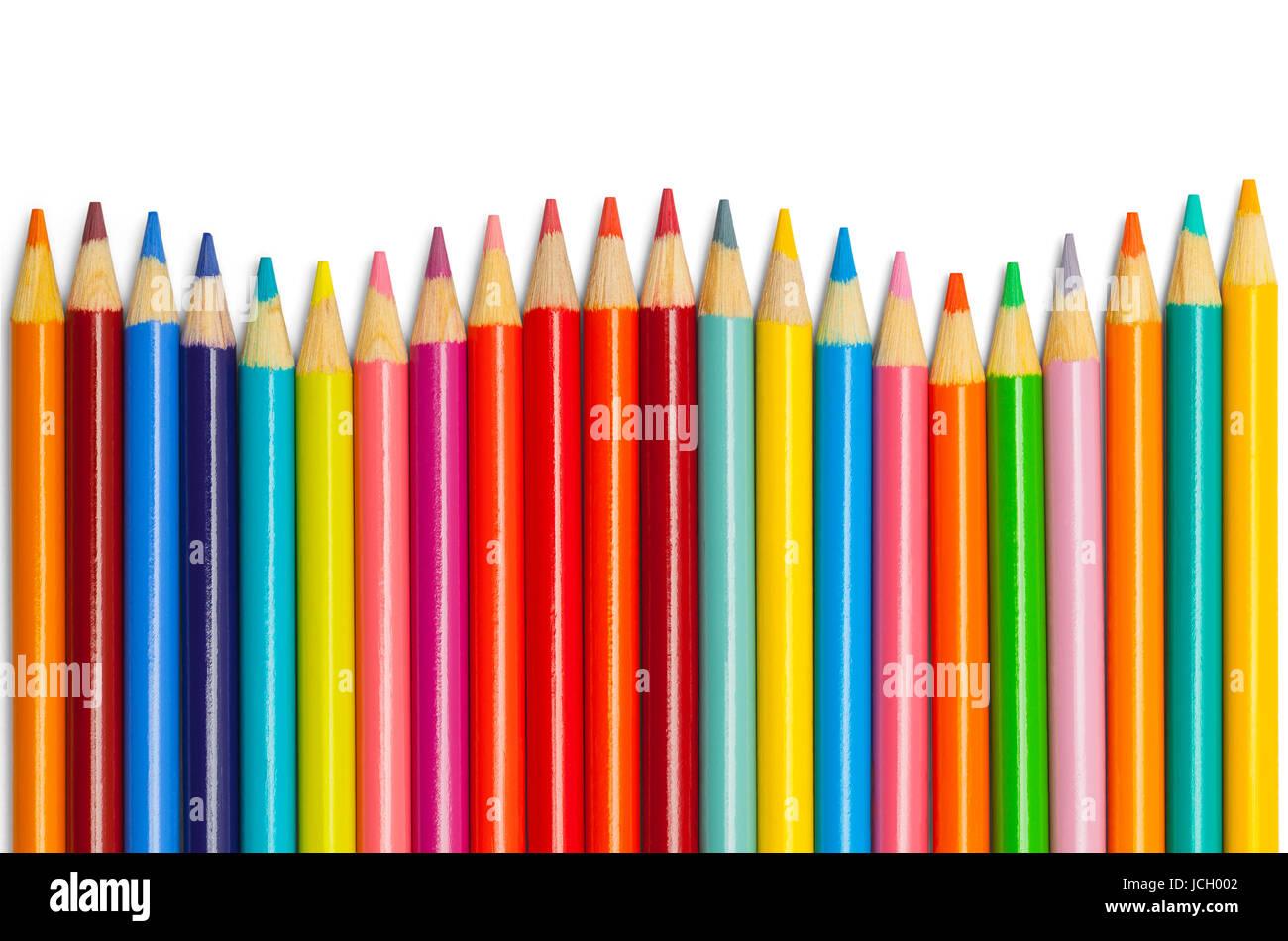 Crayon de couleur vague isolé sur fond blanc. Photo Stock