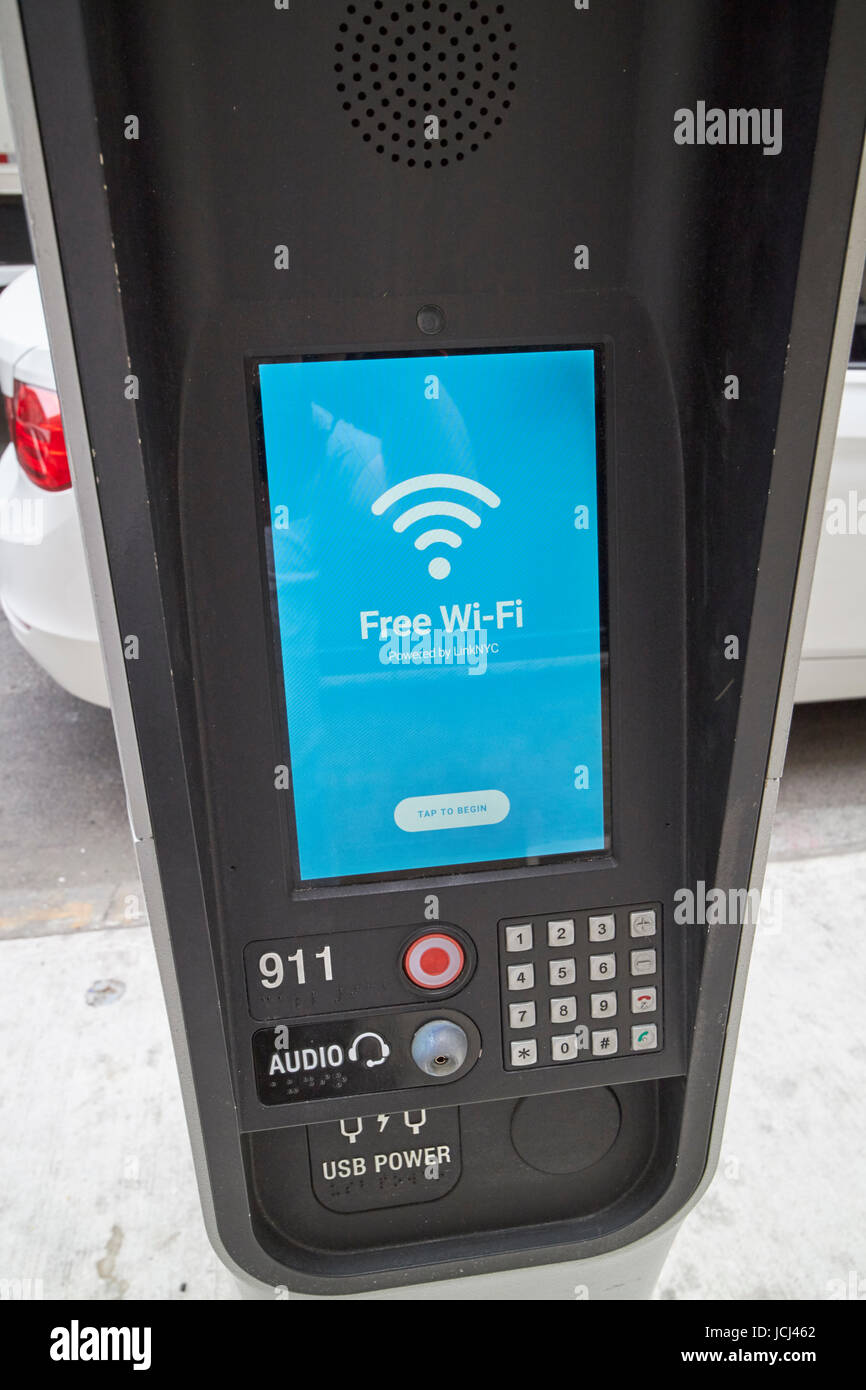 Nyc lien wifi public gratuit New York États-unis kiosk Photo Stock