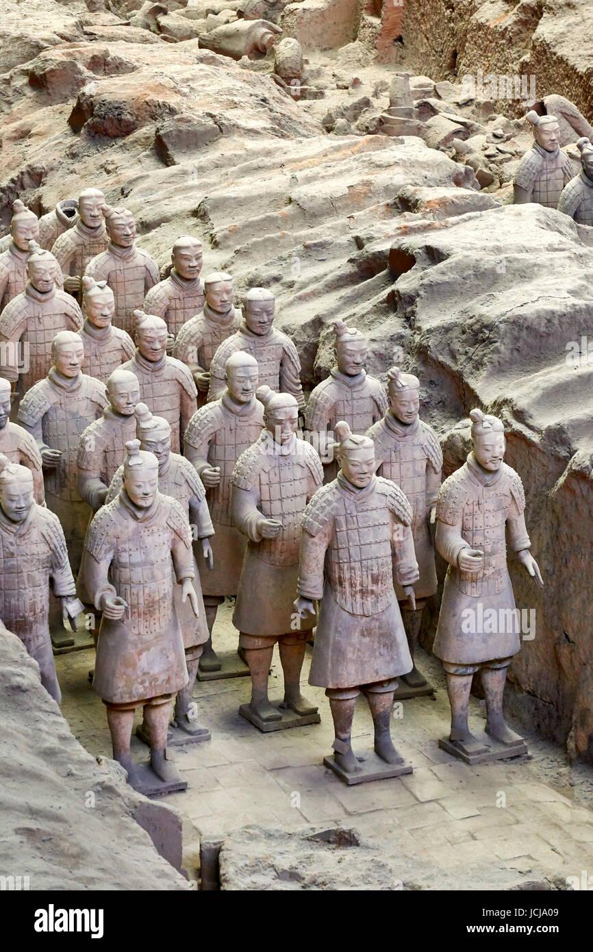Armée de Terracotta Warriors, l'UNESCO, Xian, Chine Photo Stock