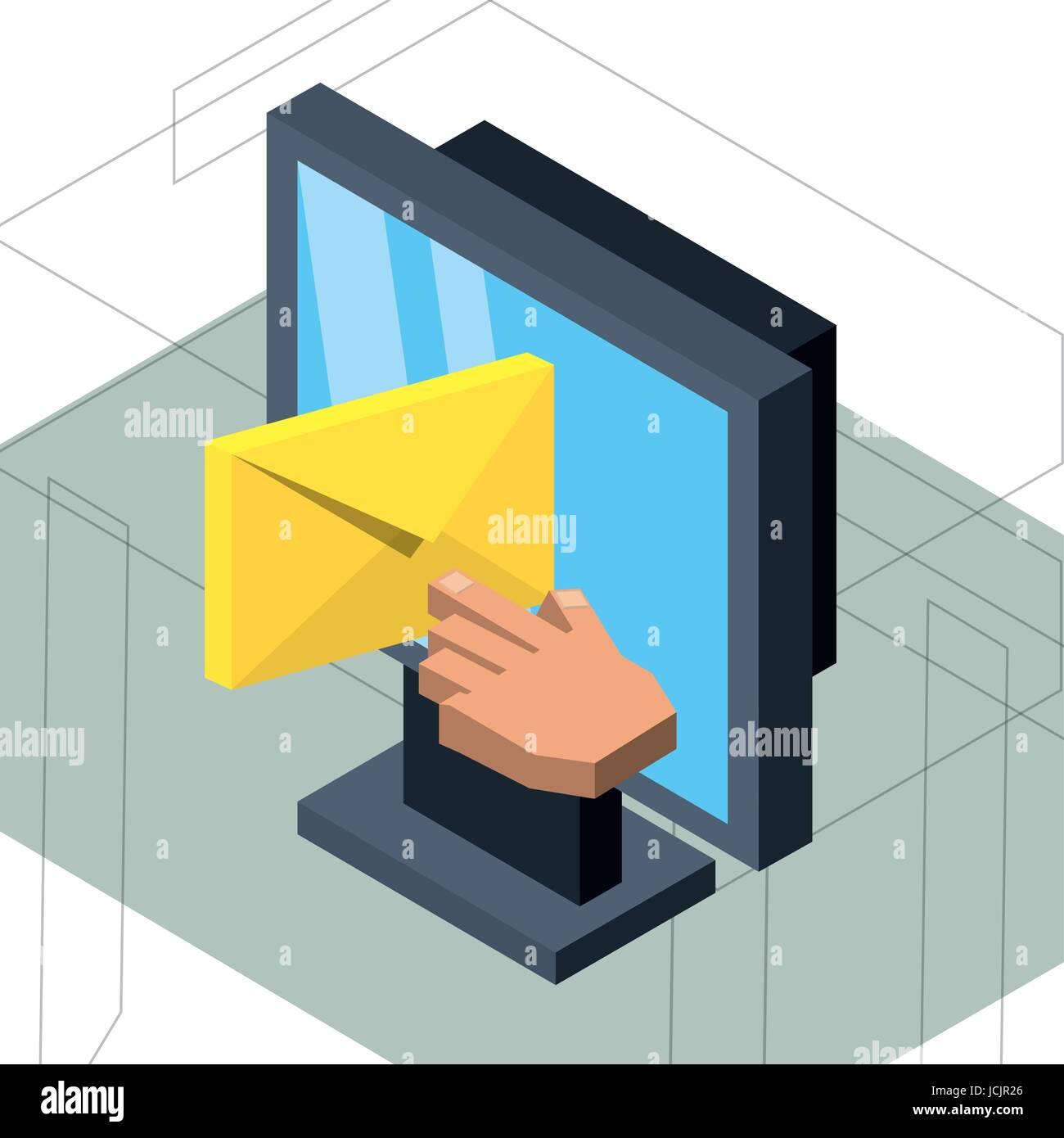 Ordinateur isométrique avec e-mail Message Photo Stock