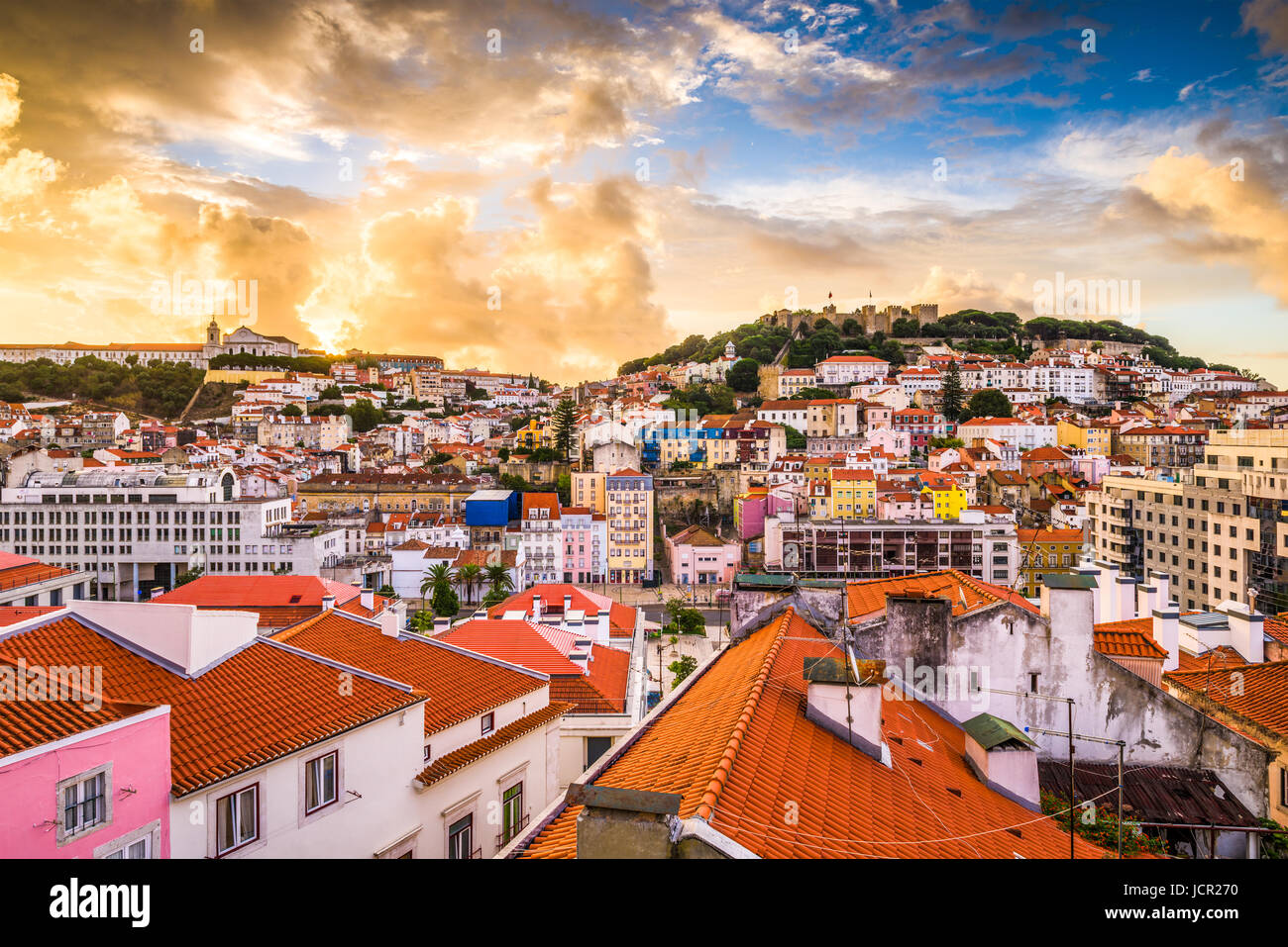Lisbonne, Portugal skyline at Château Sao Jorge. Photo Stock