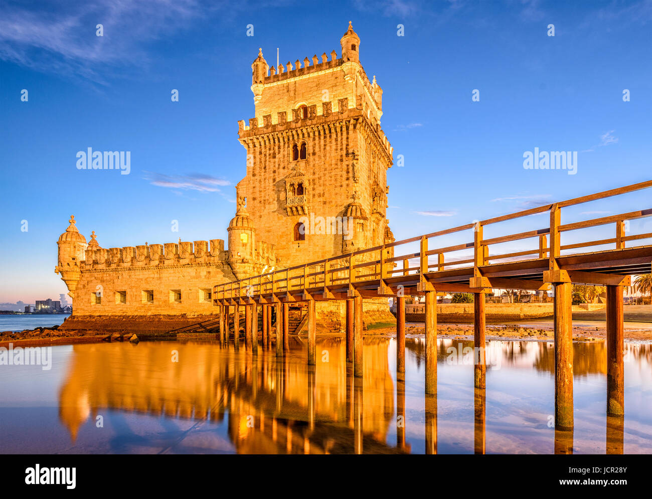La Tour de Belém sur le Tage à Lisbonne, Portugal. Photo Stock
