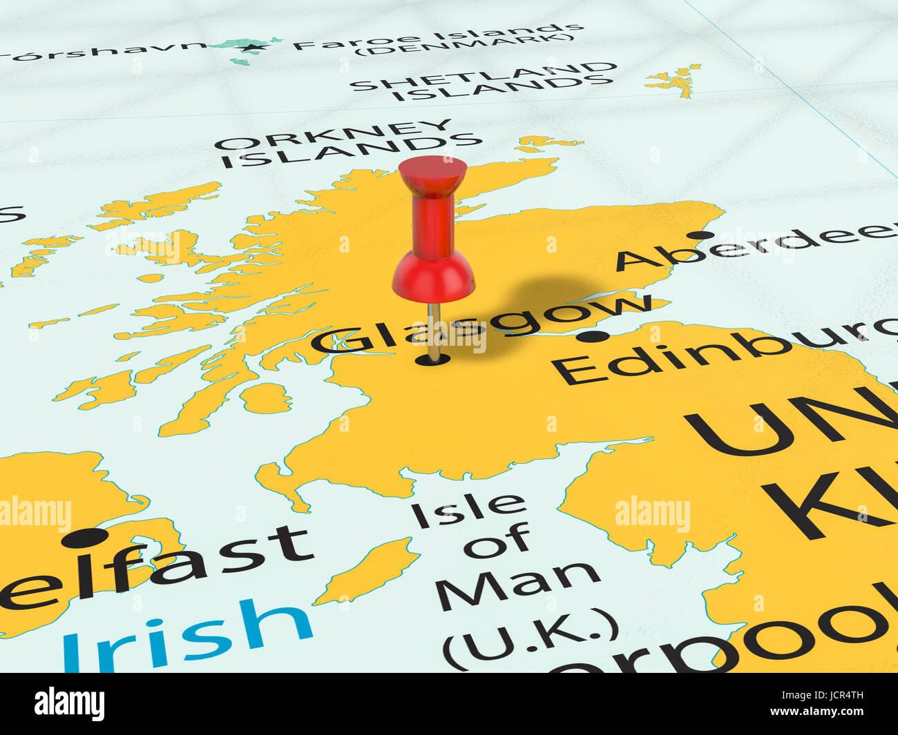 Épingle sur Glasgow carte arrière plan. 3d illustration