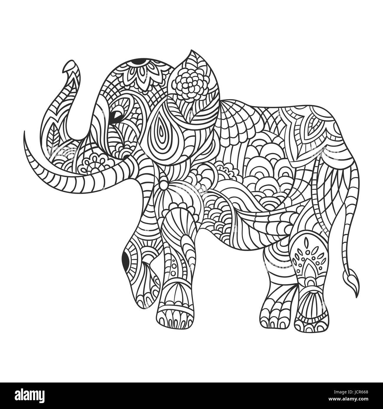 Coloriage Poisson Elephant.La Main Zentagle Monochrome Vector Illustration D Un Elephant