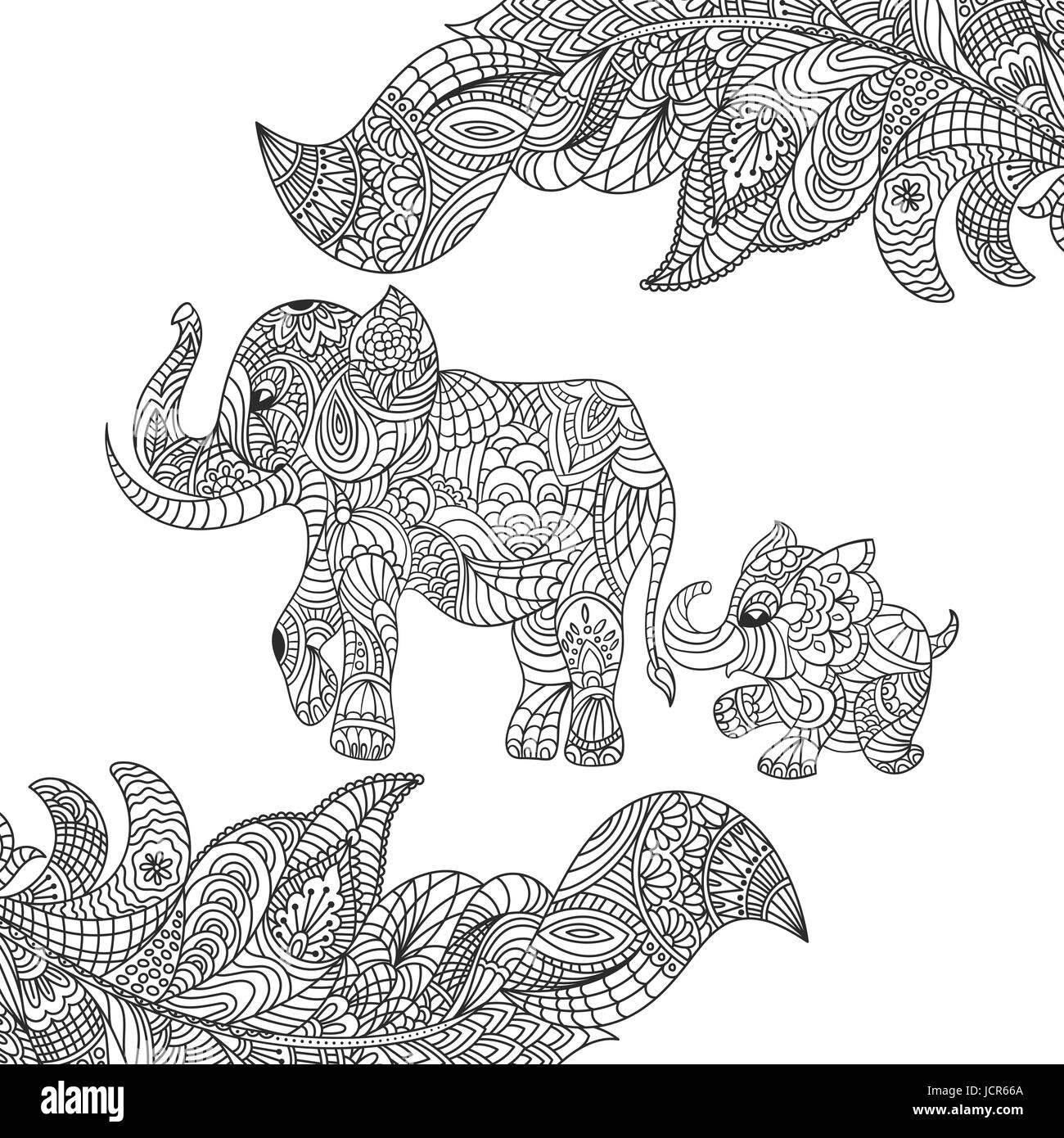 Coloriage Bebe Elephant.La Main Zentagle Monochrome Vector Illustration D Un Elephant Et