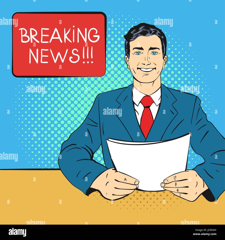 Vector hand drawn pop art illustration de présentateur holding feuille de papier dans ses mains. Concept de breaking Illustration de Vecteur