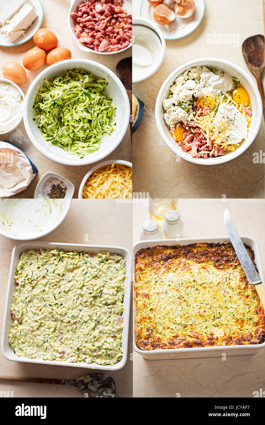 Frittata aux légumes courgette oignon pancetta recette étape par étape Photo Stock