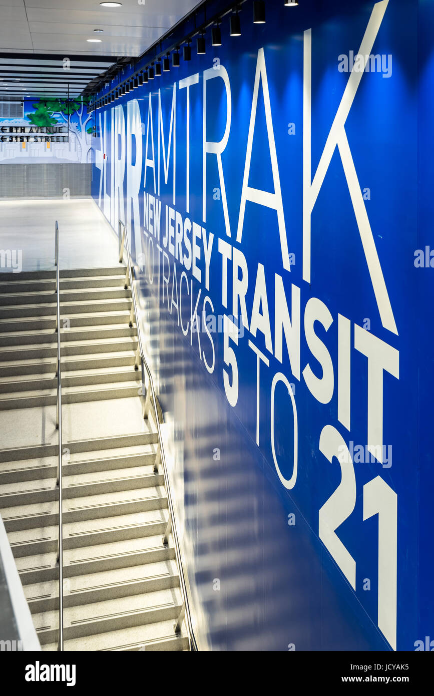 La ville de New York, NY - 15 juin 2017: ouvert au-dessous de la rénovation de la gare Penn Station James Photo Stock