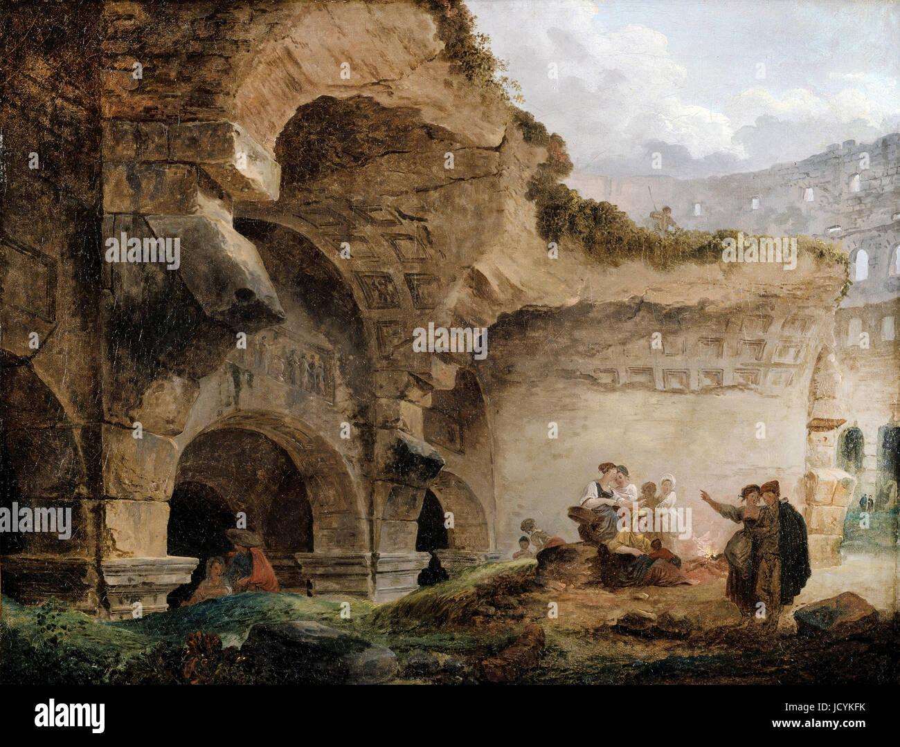 Hubert Robert, vue imaginaire de Rome avec l'Horse-Tamer du Monte Cavallo et une église 1786 Huile sur Photo Stock