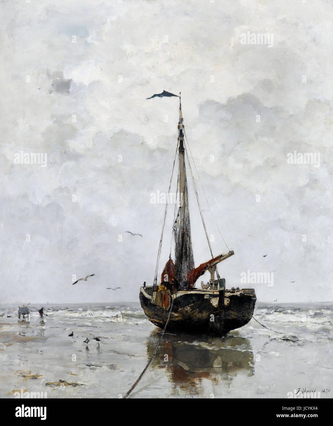 Jacob Maris, bateau de pêche 1878 Huile sur toile. Gemeentemuseum Den Haag, La Haye, Pays-Bas. Photo Stock