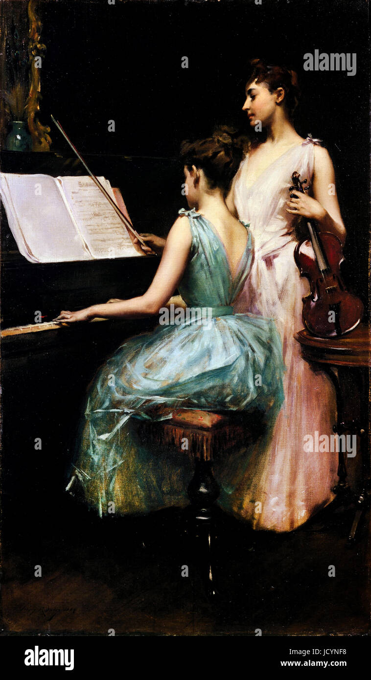 Irving R. Wiles, la Sonata 1889 Huile sur toile. Fine Arts Museums of San Francisco, San Francisco, USA. Photo Stock
