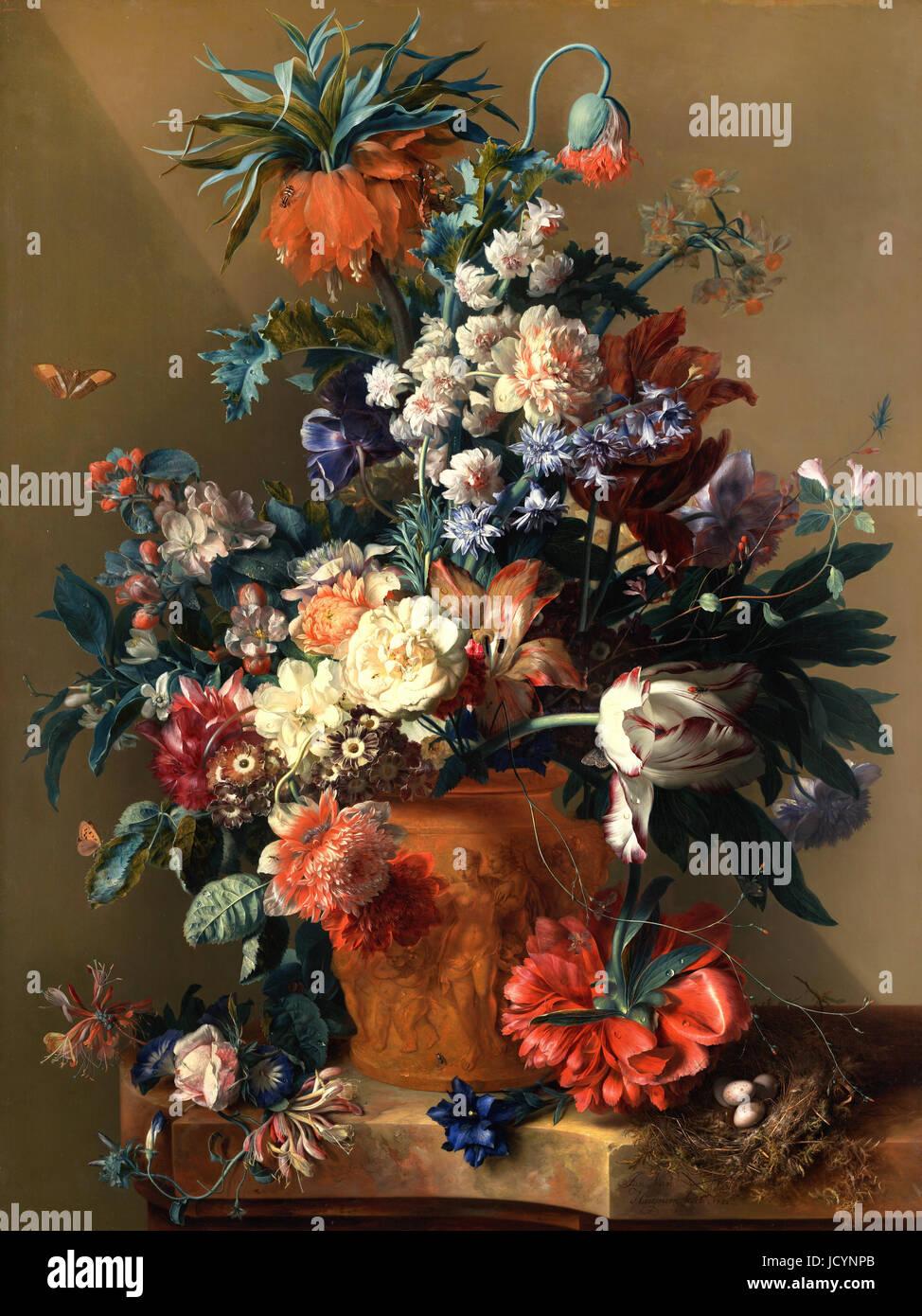 Jan van Huysum, Vase de fleurs. 1722 Huile sur panneau. Getty Center, Los Angeles, USA. Banque D'Images