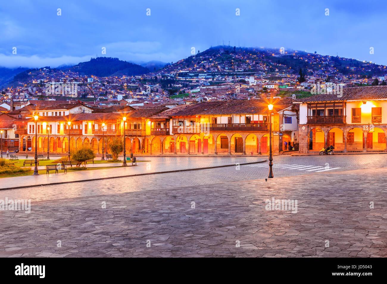 Cusco, Pérou. Plaza de Armas, la place principale de Cusco. Photo Stock