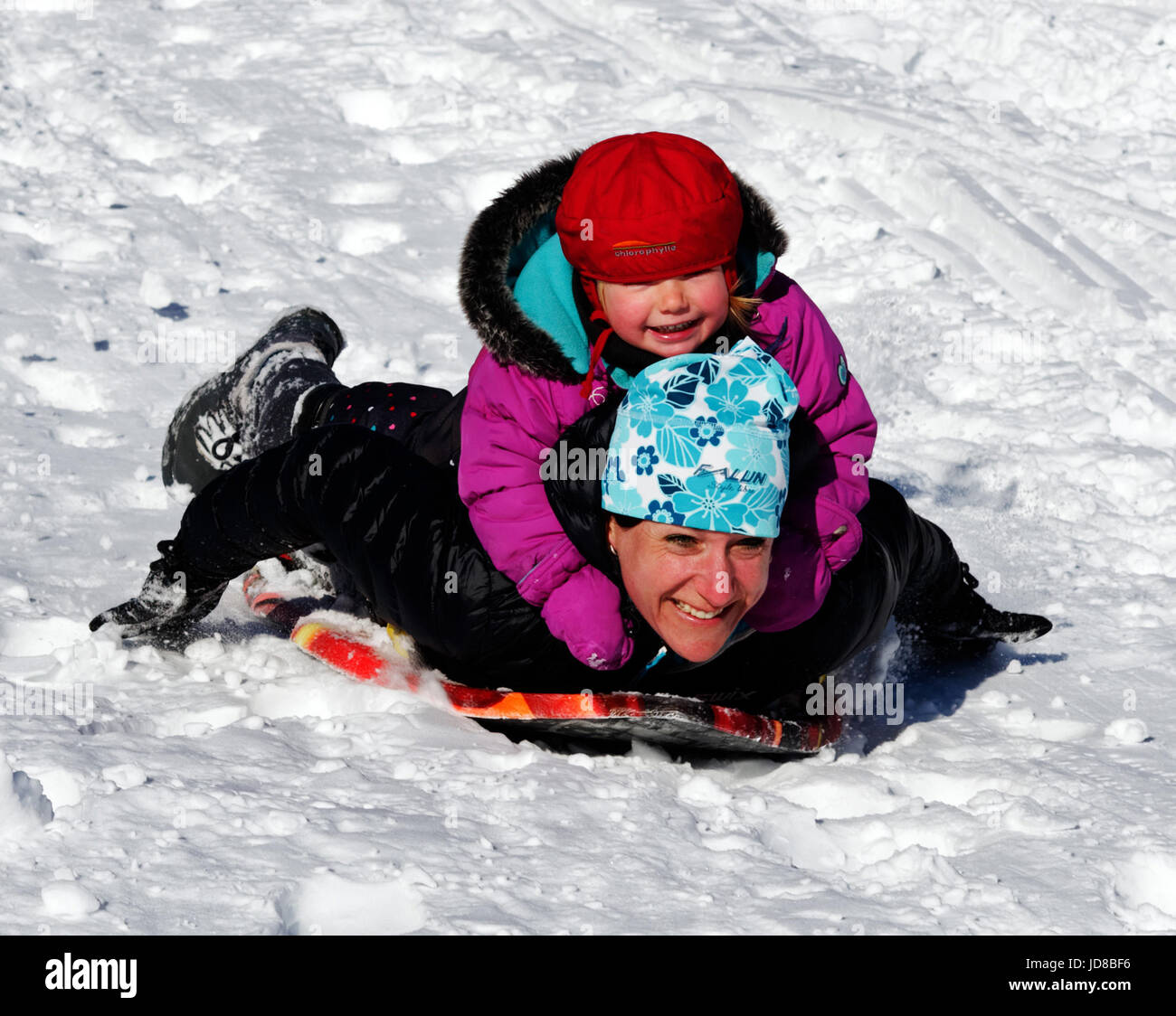 Un jeune enfant à cheval sur le dos d'un adulte sur un traîneau Photo Stock