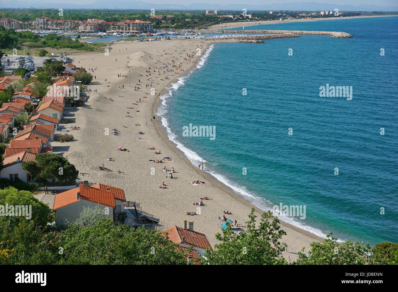 Plage de sable de la Méditerranée Le Racou à Argelès-sur ...