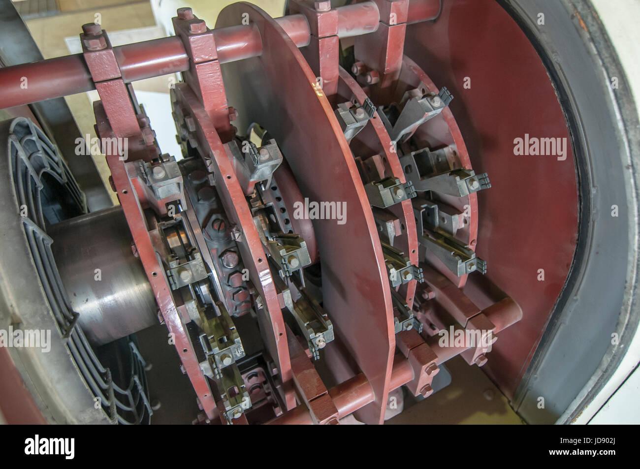 Puissance 110 MW Genarator brossages de carbone dans le cadre de son système d'Excitation, centrale géothermique Photo Stock
