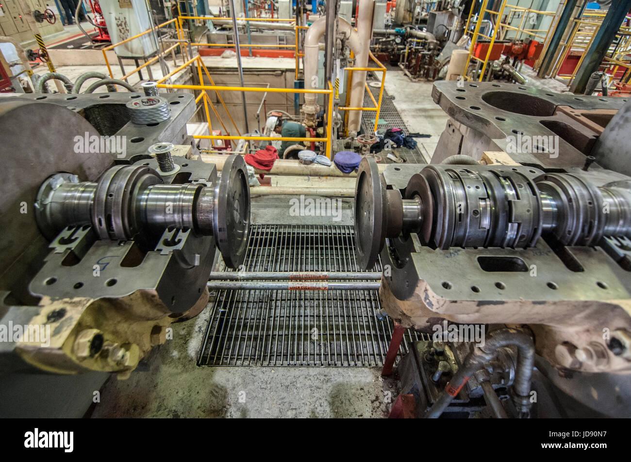 L'alignement du compresseur turbo travailler dans une centrale géothermique CERRO PRIETO, Comision Federal Photo Stock