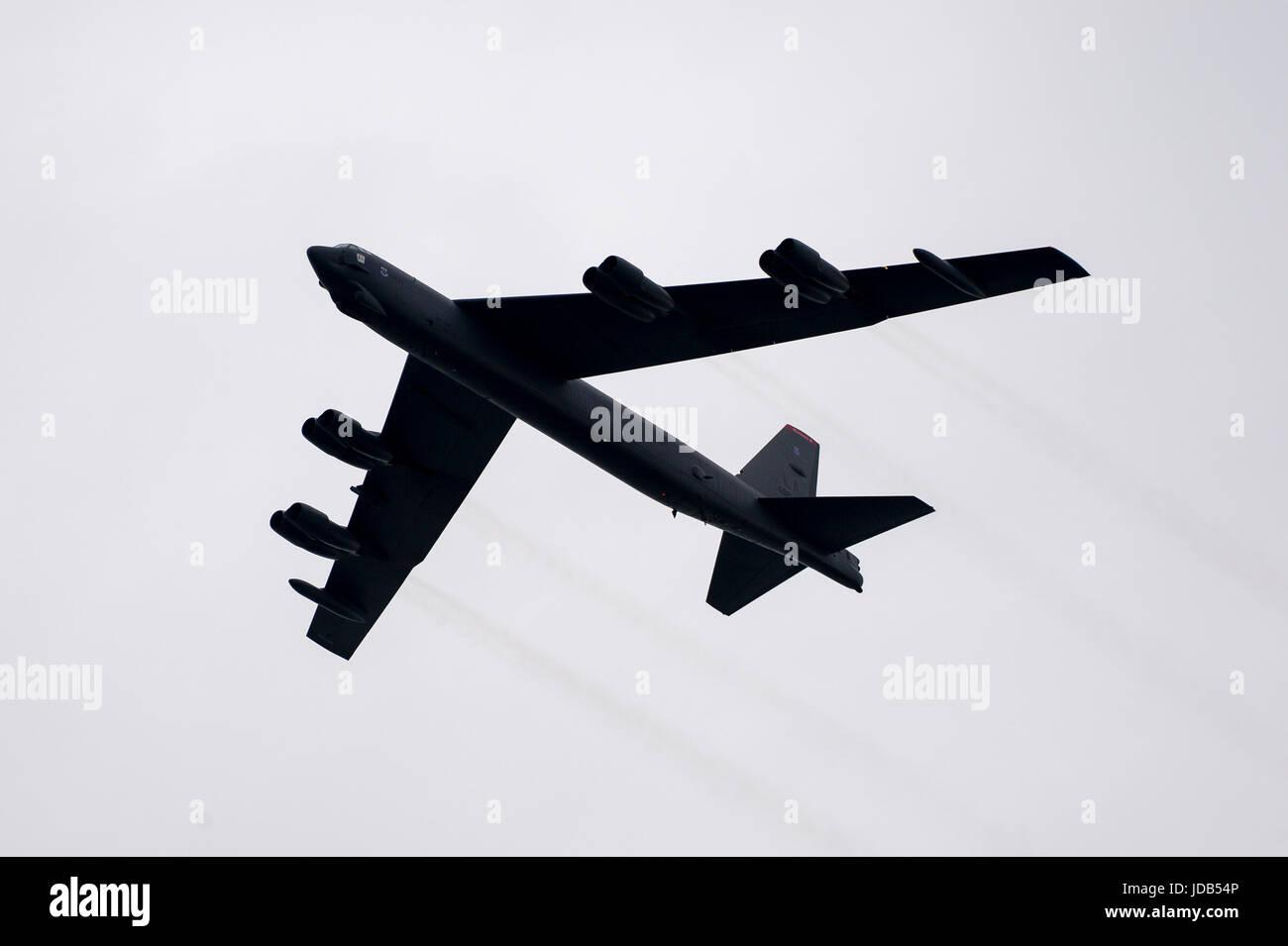 Un bombardier stratégique à long rayon d'Boeing B-52 Stratofortress pendant la 45e édition de l'exercice BALTOPS 2017 Opérations de la Baltique à Ustka, Polan Banque D'Images