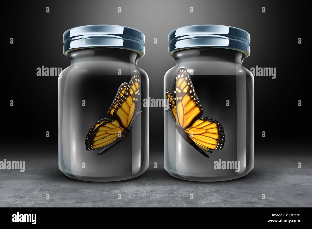 Les obstacles à la communication et concept de barrière physique comme deux papillons en verre fermée séparée comme Banque D'Images