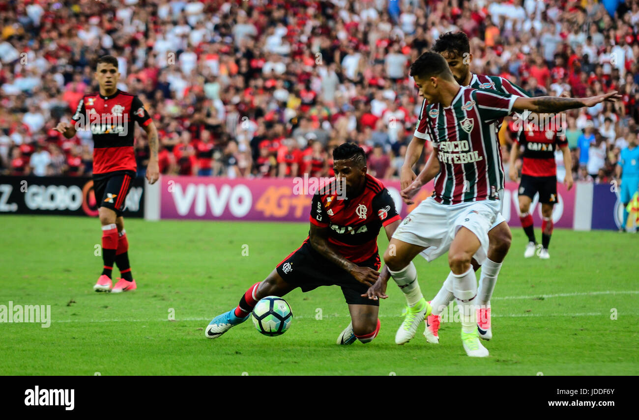 RIO DE JANEIRO, RJ, 18.06.2017 - FLAMENGO - FLUMINENSE-Rodinei latérale Flamengo, durante confronto pela oitava Photo Stock