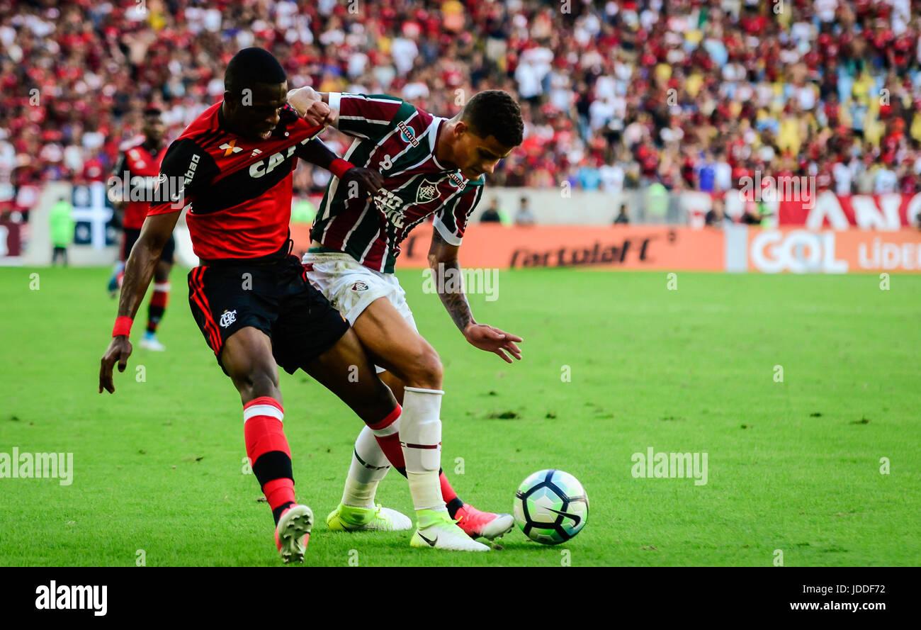 RIO DE JANEIRO, RJ, 18.06.2017 - FLAMENGO - FLUMINENSE-Jogador Vinicius Júnior Flamengo, durante confronto Photo Stock