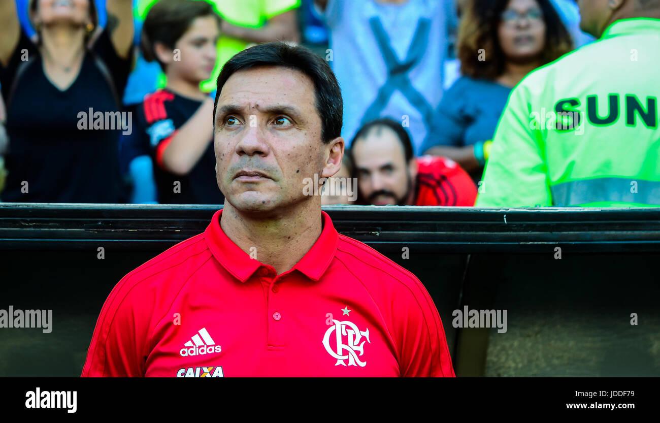 RIO DE JANEIRO, RJ, 18.06.2017 - FLAMENGO - FLUMINENSE-Treinador José Ricardo do Flamengo, durante confronto Photo Stock