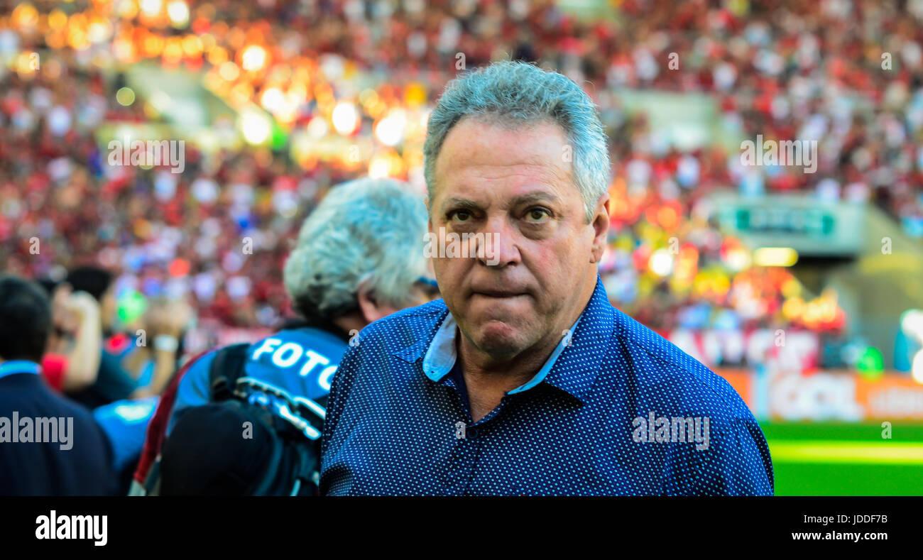 RIO DE JANEIRO, RJ, 18.06.2017 --FLUMINENSE FLAMENGO - Fluminense Treinador Abel n, durante confronto pela oitava Photo Stock