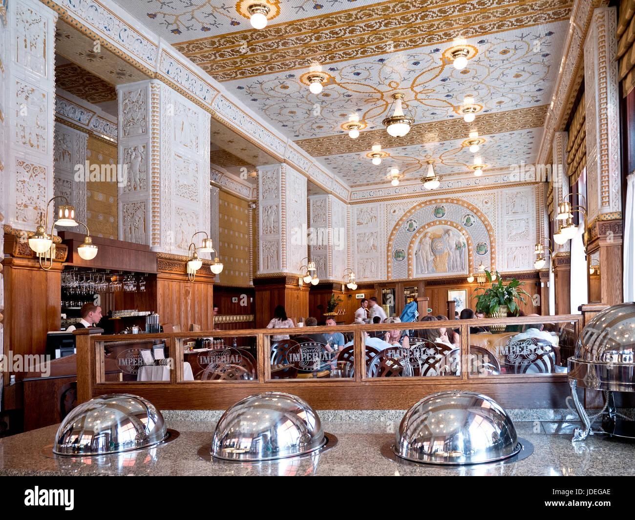 Intérieur du Restaurant Café Imperial de Prague dans la rue Na Poříčí. République tchèque. Photo Stock