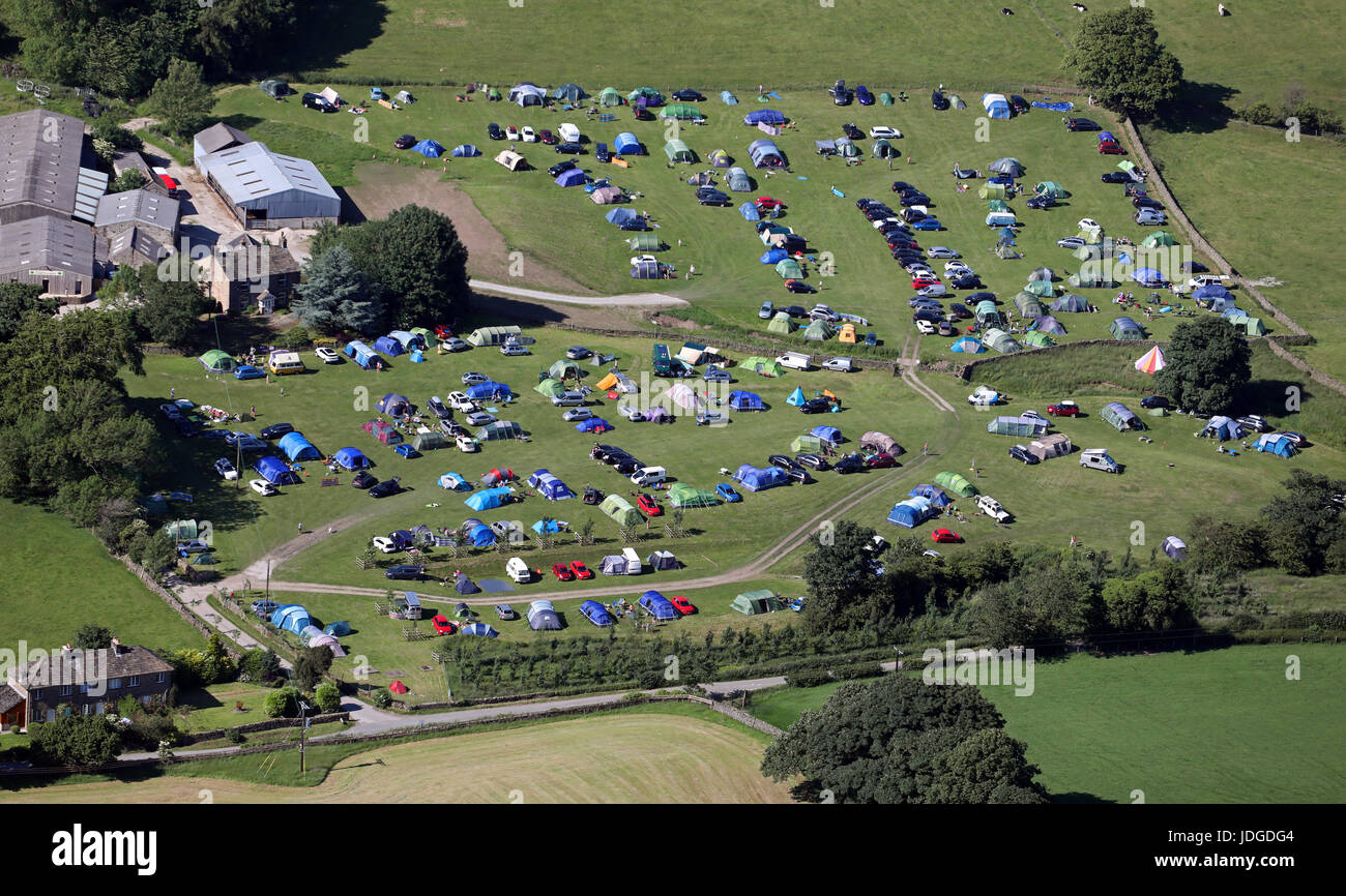 Vue aérienne de Catgill Camping, Bolton Abbey, Skipton, Yorkshire, UK Photo Stock