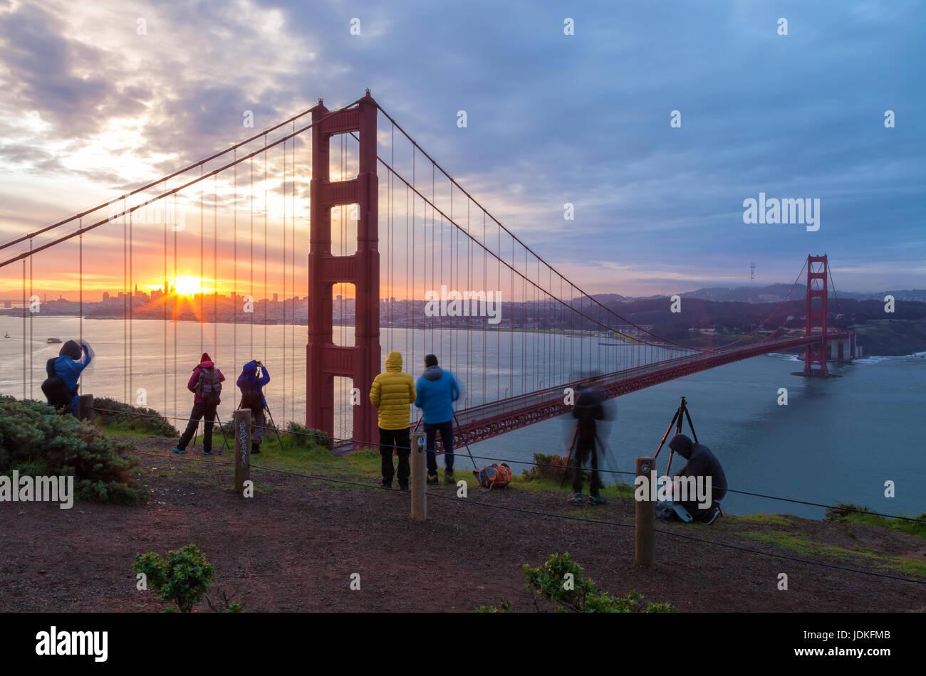 Golden Gate Bridge et les photographes Photo Stock