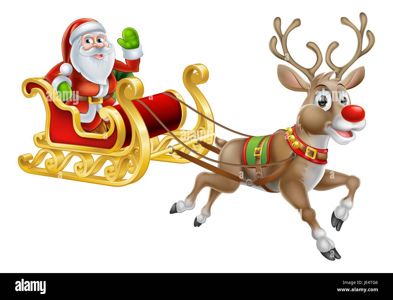 Image Du Pere Noel Sur Son Traineau.Une Illustration Du Pere Noel Equitation Dans Son Traineau