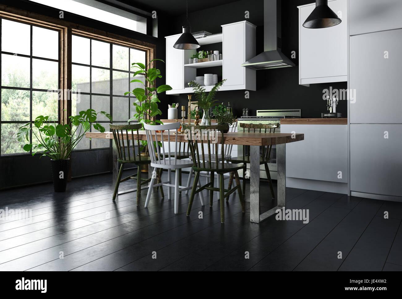 Captivant Intérieur De Cuisine Moderne Avec Table à Manger, Chaises En Bois Sur Sol  Noir, Mobilier Blanc, Beaucoup De Plantes Vertes Du0027intérieur En Pot Et  Immense ...