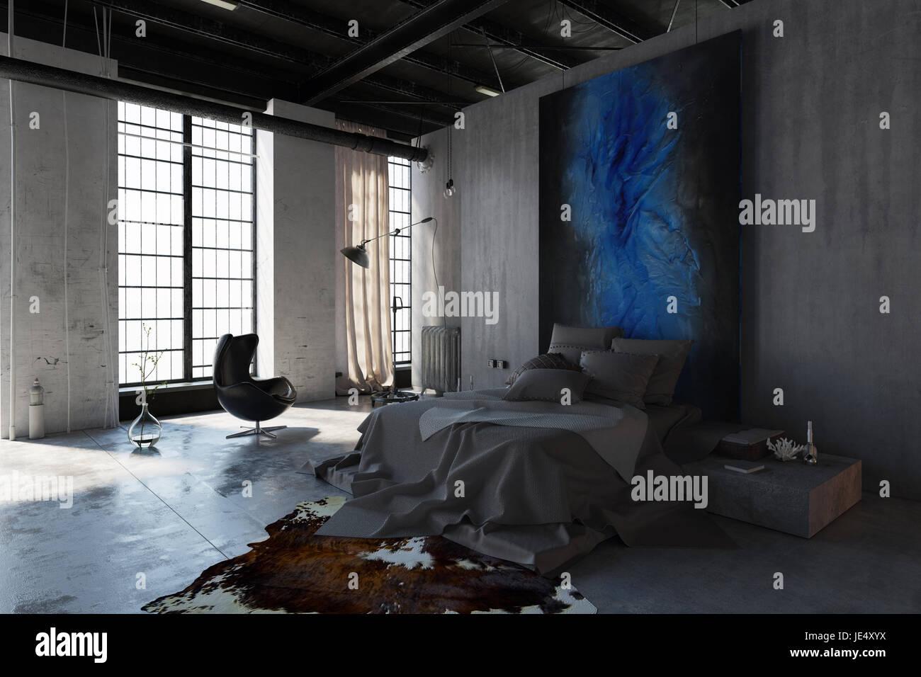 Mur Couleur Gris Beton de l'intérieur chambre fantaisie en couleur gris style avec