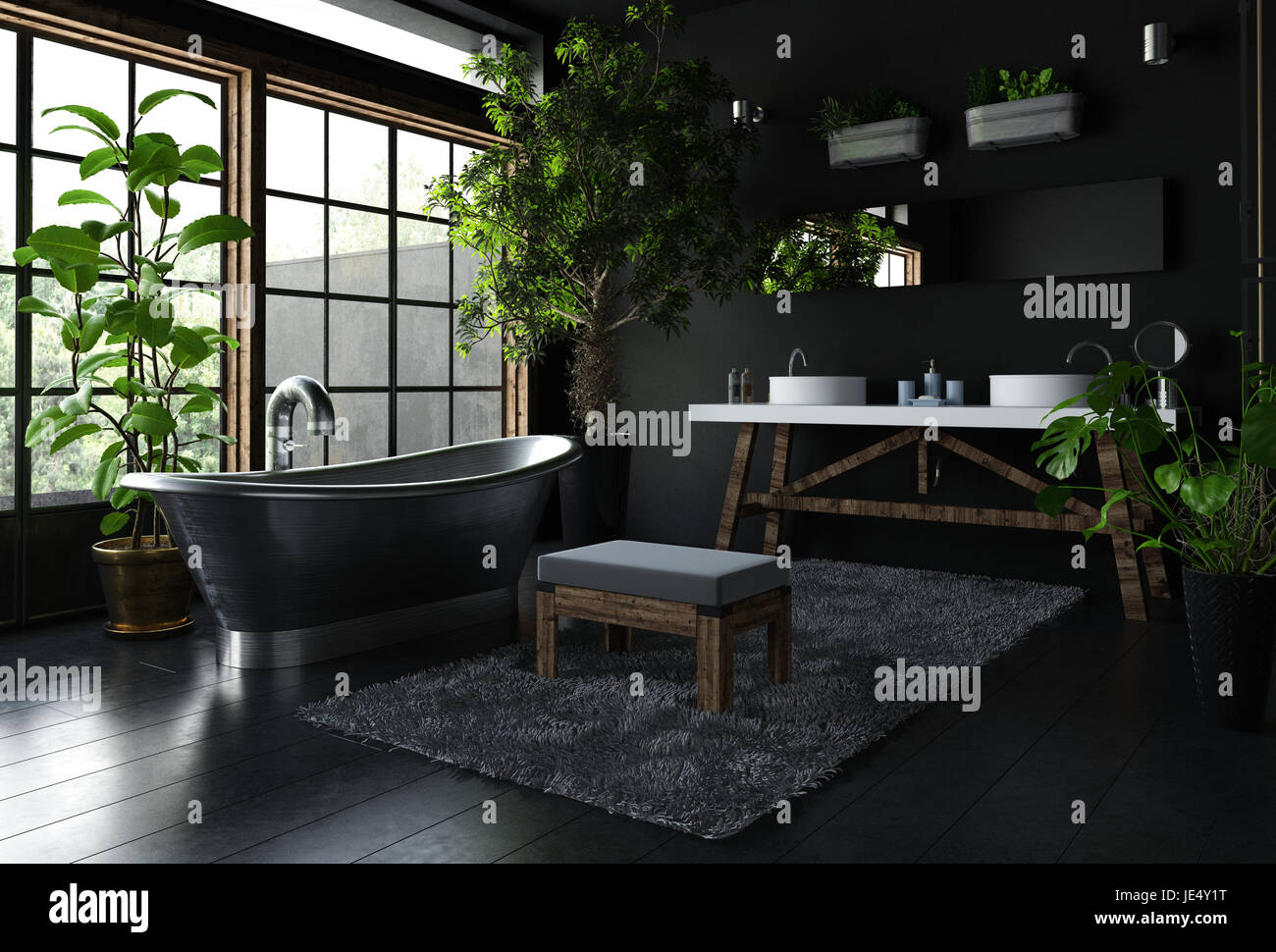 Intérieur de salle de bains fantaisie en couleur noir, avec ...